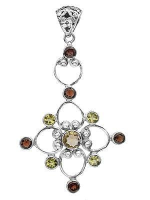 Gemstone Flower Pendant (Garnet, Peridot and Citrine)