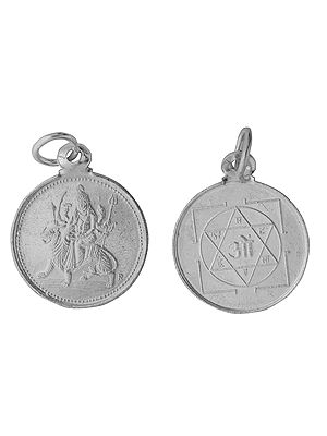 Goddess Durga Pendant with Her Yantra on Reverse (Two Sided Pendant)