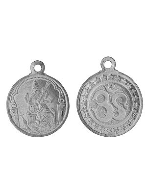 Goddess Saraswati Pendant  with OM on Reverse (Two Sided Pendant)