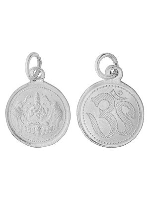 Goddess Gaja-Lakshmi Pendant with OM on  Reverse (Two Sided Pendant)
