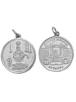 Ayyappan With Ayyappan Swamiye Saranam on the Reverse (Two Sided Pendant)