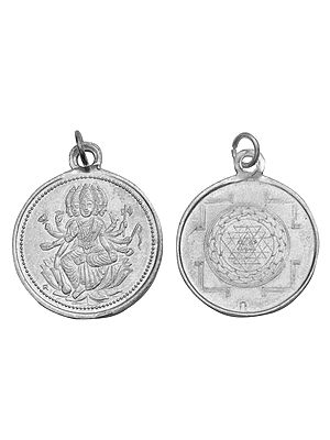 Goddess Gayatri With Yantra on the Reverse (Two Sided Pendant)
