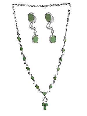 Faceted Emerald Necklace with Earrings Set