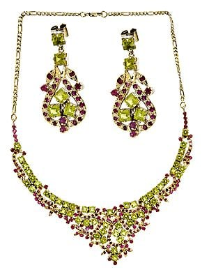 Faceted Ruby and Peridot Necklace with Earrings Set