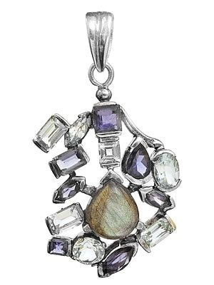 Triple Gemstone Pendant (BT, Iolite and Labradorite)