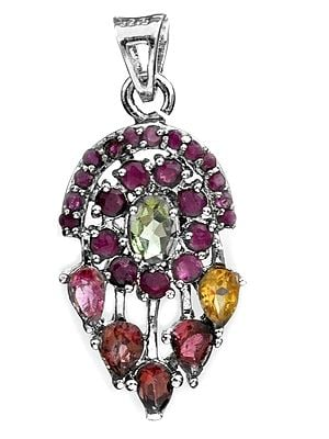 Faceted Gemstones Pendant (Ruby, Peridot, Tourmaline and Citrine)