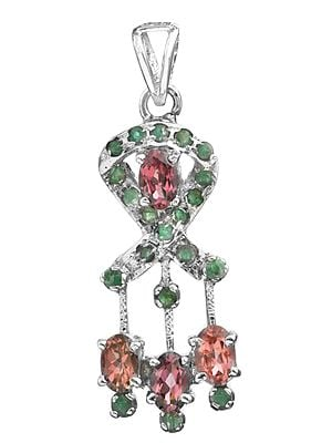 Faceted Tourmaline with Emerald Pendant