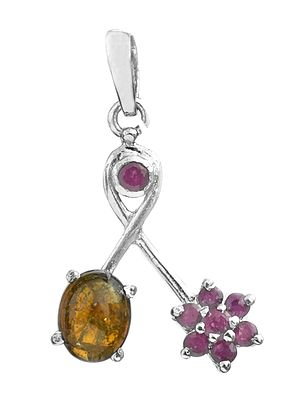 Faceted Ruby Pendant with Tourmaline
