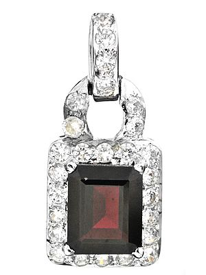 Faceted Garnet Pendant with CZ