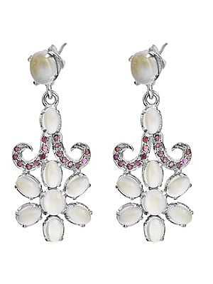 Moonstone Flower Earrings with Faceted Ruby