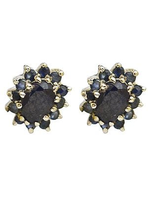 Faceted Black Spinel Tops with Sapphire