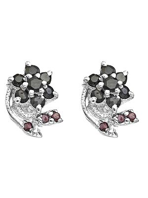 Faceted Sapphire Flower Tops with Ruby