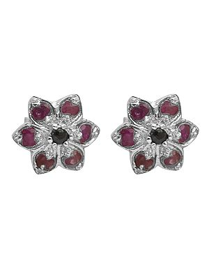 Faceted Ruby Flower Tops with Sapphire