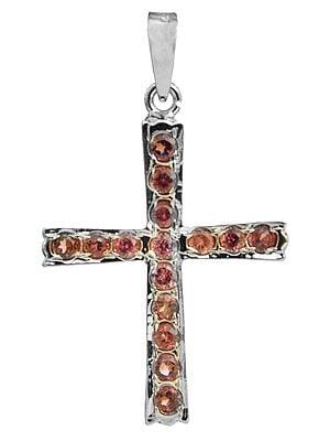 Faceted Garnet Cross Pendant