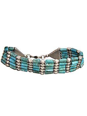 Five-Strand Turquoise Tubes Bracelet