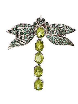 Butterfly Brooch Cum Pendant with Faceted Peridot and Emerald