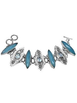 Faceted Blue Chalcedony Marquise Bracelet with BT