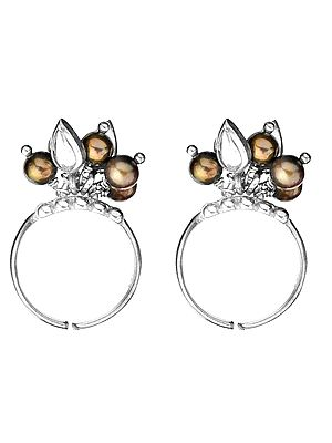 Black Pearl Toe Rings with Charms (Price Per Pair)