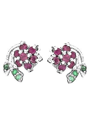 Faceted Ruby Flower Tops with Emerald