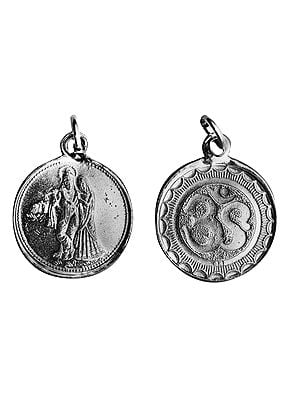Radha Krishna Pendant with  OM (AUM) on Reverse (Two Sided Pendant)