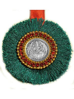Goddess Lakshmi Rakhi with Silk Ribbon Band