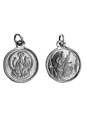 Hayagriva-Lakshmi Pendant with Devi Saraswati  on Reverse (Two Sided Pendant)