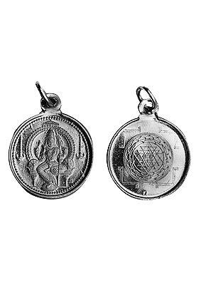 Goddess Rajarajeshwari Pendant with Yantra  on Reverse (Two Sided Pendant)