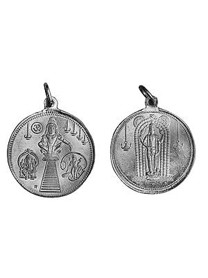 Ayyappan Pendant with Ganesha and Karttikeya and Kuruvayurapar on Reverse (Two Sided Pendant)