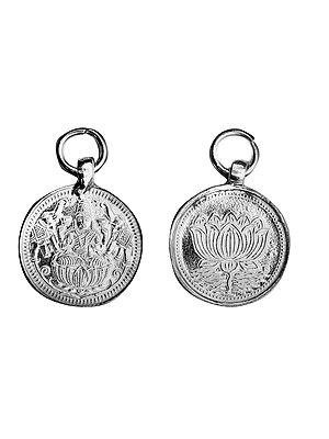 Goddess Lakshmi Pendant with Lotus on Reverse (Two Sided Pendant)