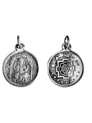 Lord Ganesha Pendant with Yantra on Reverse (Two Sided Pendant)