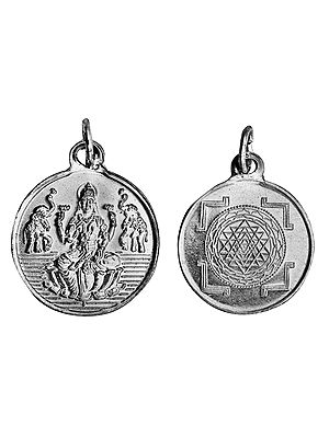 Goddess Lakshmi Pendant with Shri Yantra on Reverse (Two Sided Pendant)