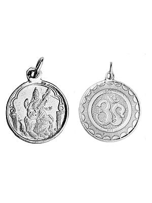 Goddess Saraswati Pendant with OM (AUM) on Reverse (Two Sided Pendant)
