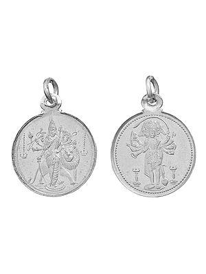 Goddess Durga Pendant with Five Headed Hanuman on Reverse (Two Sided Pendant)