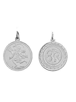 Veera Anjaneyar (Hanuman) Pendant with OM (AUM) on Reverse (Two Sided Pendant)