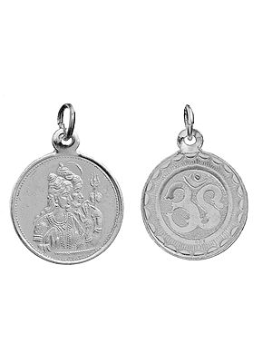 Sivan-Parvathy (Shiva-Parvati) Pendant with OM (AUM) on Reverse (Two Sided Pendant)