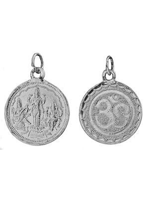 Saraswati, Lakshmi and Ganesha Pendant with OM (AUM) on Reverse (Two Sided Pendant)