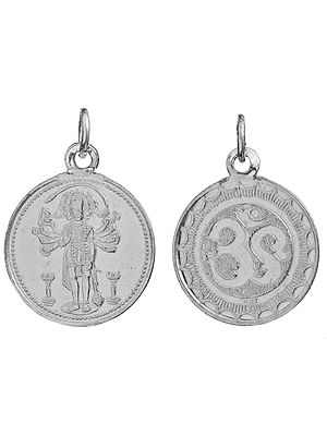 Panchamuga Anjaneyar (Five-Headed Hanuman)  Pendant with OM (AUM) on Reverse (Two Sided Pendant)