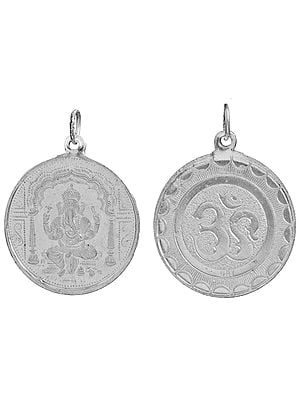 Ganapathi (Ganesha)  Pendant with OM (AUM) on Reverse (Two Sided Pendant)