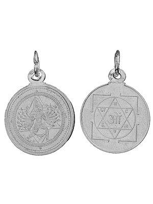 Sri Sudarshana Chakrathalwar Pendant with Yantra on Reverse (Two Sided Pendant)