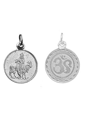 Bhagawan Krishna Pendant with OM (AUM)  on Reverse (Two Sided Pendant)