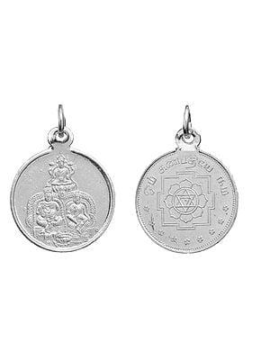 Lakshmi-Kubera Pendant with Yantra on Reverse (Two Sided Pendant)