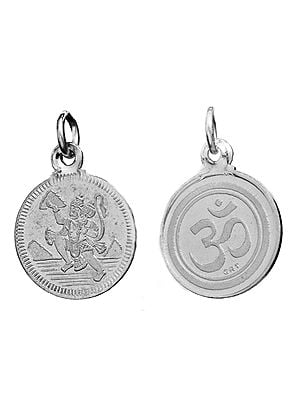 Veera Anjaneyar (Hanuman Ji)   Pendant with Yantra on Reverse (Two Sided Pendant)