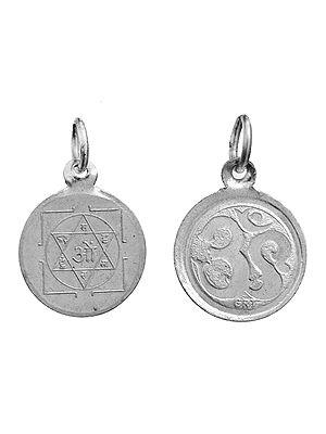 Sudharshana Chakram  Pendant with OM (AUM) on Reverse (Two Sided Pendant)