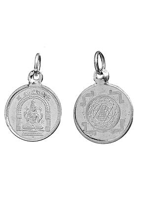 Goddess Mookambika  Pendant with Yantra on Reverse (Two Sided Pendant)