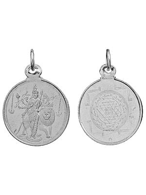 Goddess Durga   Pendant with Yantra on Reverse (Two Sided Pendant)