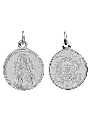 Goddess Pratyangira Pendant with Yantra on Reverse (Two Sided Pendant)