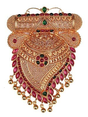 Finely Crafted Paisley Pendant with Ruby and Emerald (South Indian Temple Jewelry)