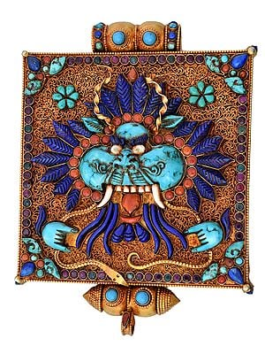 Museum-Quality Garuda Gau Box Gemstone Pendant with Filigree (Coral, Lapis Lazuli and Turquoise) -  Made in Nepal