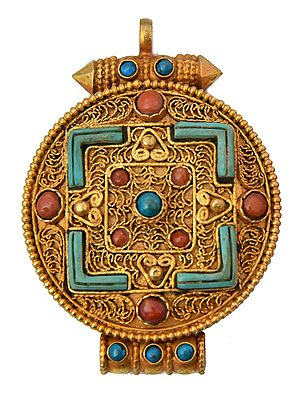 Mandala Gau Box Pendant with Filigree, Coral and Turquoise   - Made in Nepal