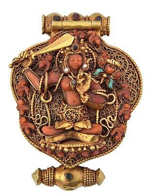 Padmapani Avalokiteshavara Gau-Box Pendant, Manjushri On The Cover, Made With Coral And Turquoise And Lapis Lazuli (Made In Nepal)